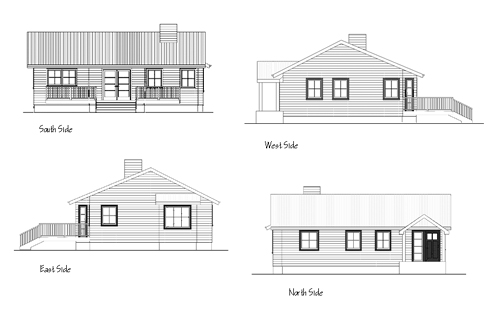 all four sides elevation drawings