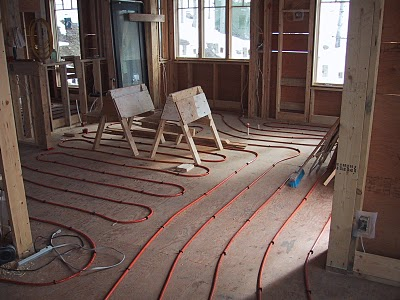 in floor heating in kitchen