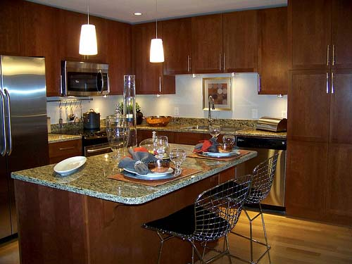 L-shaped kitchen island design